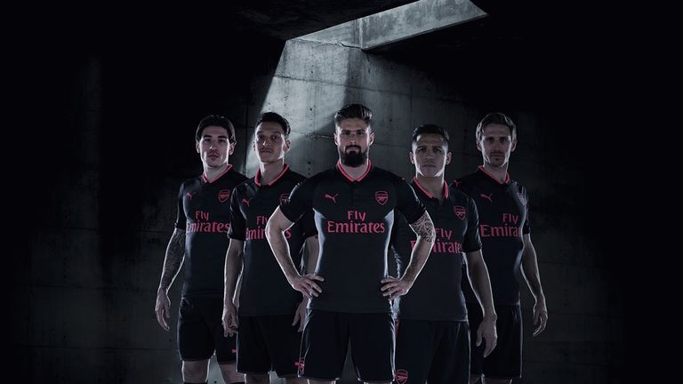 Alexis Sanchez was one of a number of Arsenal players used to unveil their new third kit for 2017/18 season. (Image: Arsenal FC)