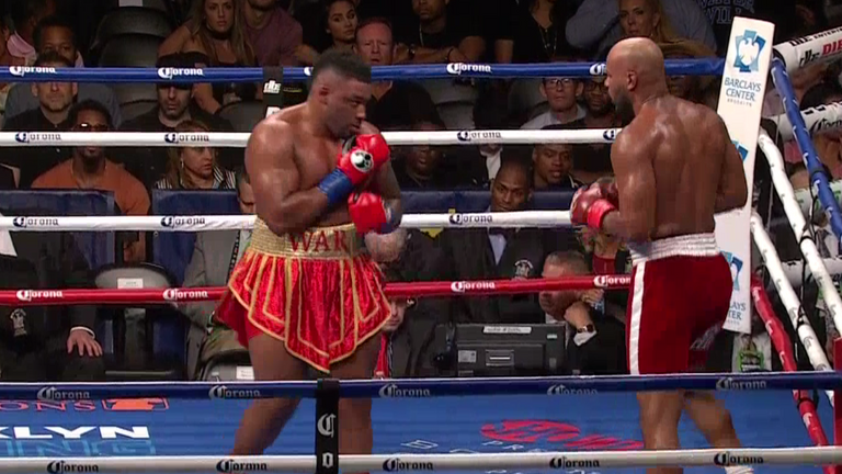 Jarrell Miller marches down Gerald Washington