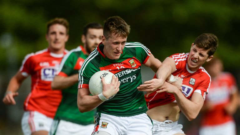 Cillian O'Connor of Mayo in action against Kevin Crowley of Cork
