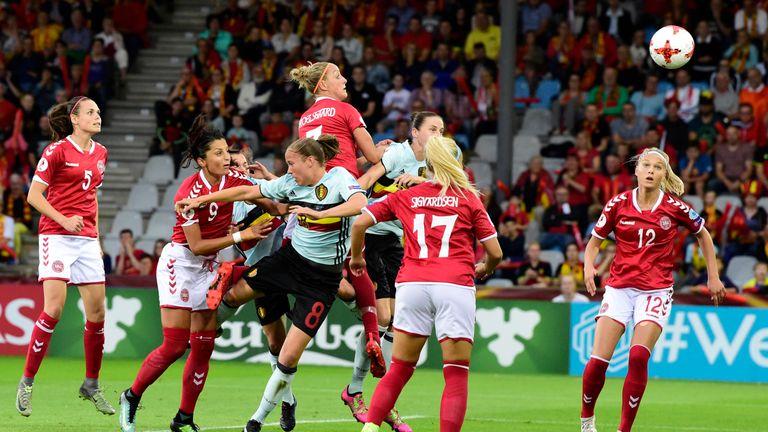 Denmark's midfielder Sanne Troelsgaard nods home the only goal of the game