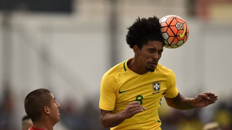 Douglas Luiz playing for Brazil Under-20s