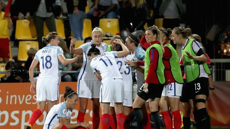 Jodie Taylor celebrates scoring England's winner
