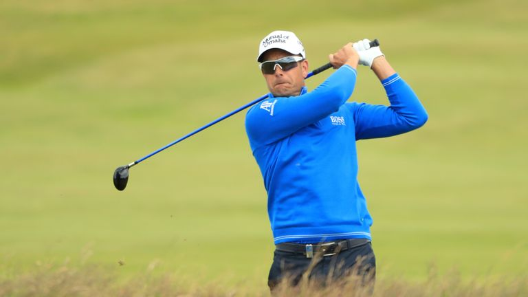 Henrik Stenson in action at Dundonald Links on Sunday