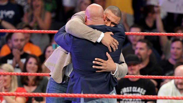 Jason Jordan was welcomed with a huge hug after Kurt Angle revealed he was his son.