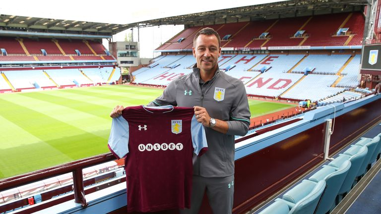 Aston Villa's home kit  for next season, as modelled by new signing  John Terry
