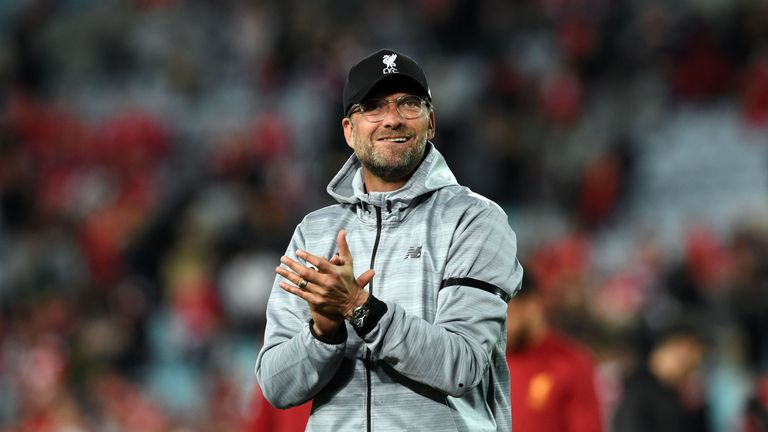 Klopp applauds the fans after their end-of-season friendly against Sydney FC