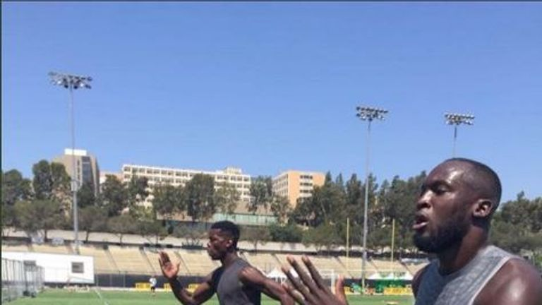 Romelu Lukaku and Paul Pogba have been training together at UCLA in California (Pic: Instagram @PaulPogba)