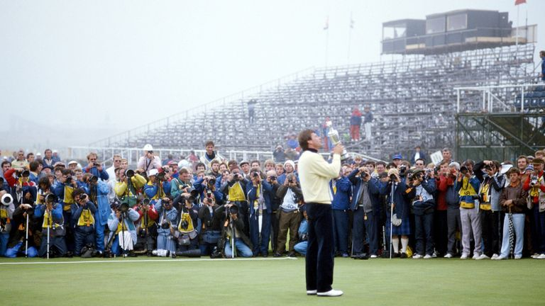 Nick Faldo celebrates his Open success at Muirfield in 1987