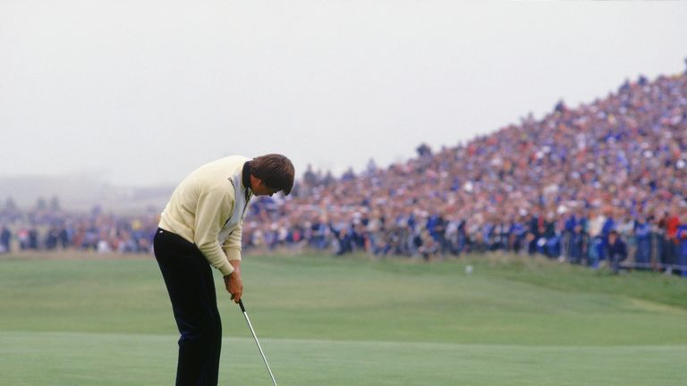 Faldo holes the winning putt for his first Major success