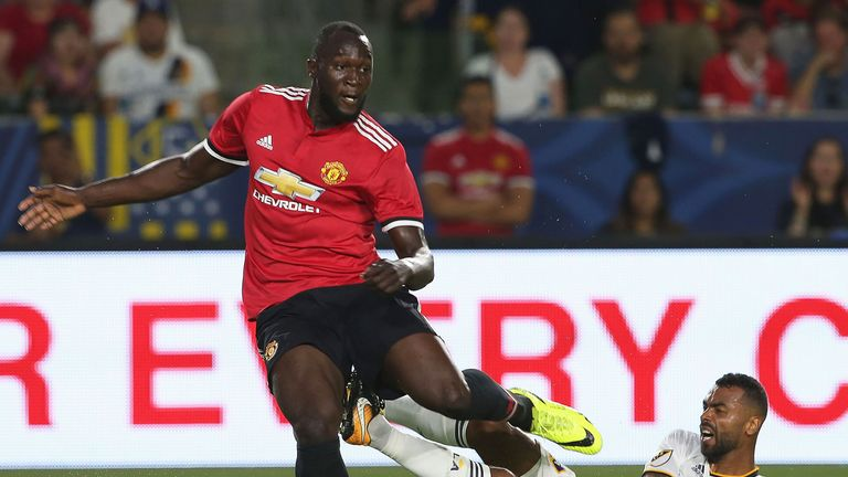 Manchester United's Romelu Lukaku in action during the pre-season friendly against LA Galaxy