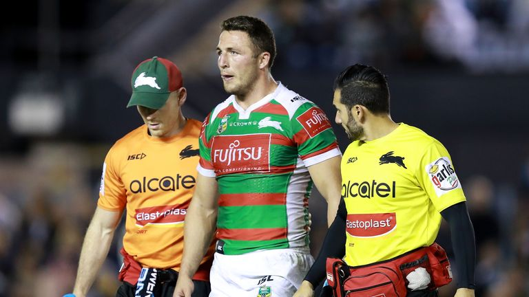 Sam Burgess leaves the field against the Sharks