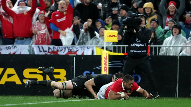 Taulupe Faletau dives in to score the Lions' first try