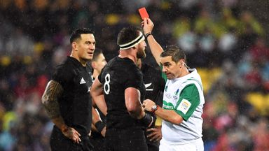 Sonny Bill Williams is shown a red card by referee Jerome Garces in this month's second Lions Test