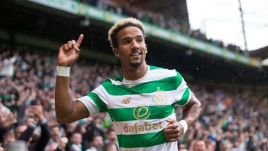 Celtic's Scott Sinclair celebrates scoring his side's first goal against Linfield