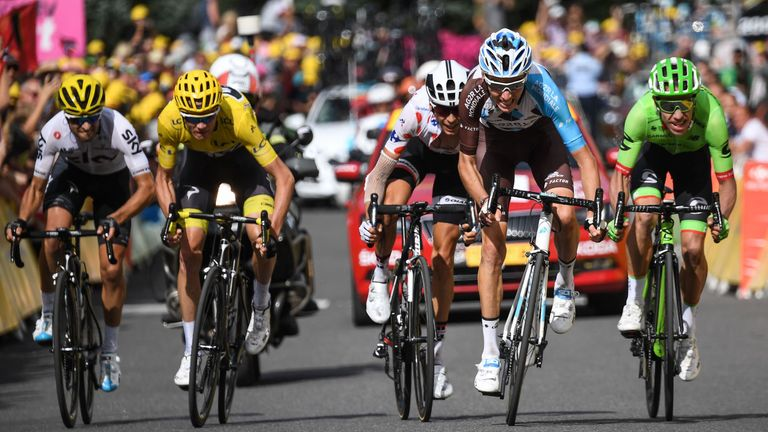 (From L) Spain's Mikel Landa, Great Britain's Christopher Froome wearing the overall leader's yellow jersey