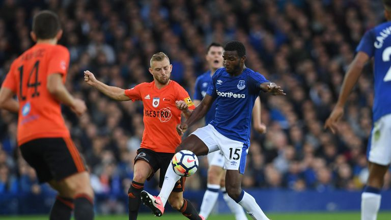 MFK Ruzomberok's Peter Gal Andrezly (CL) vies with Everton's Dutch defender Cuco Martina (CR) during the UEFA Europa League third qualifying round, Game 1
