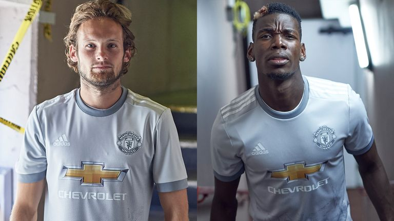 Daley Blind and Paul Pogba model the fan designed Manchester United third kit (credit: @adidasUK)