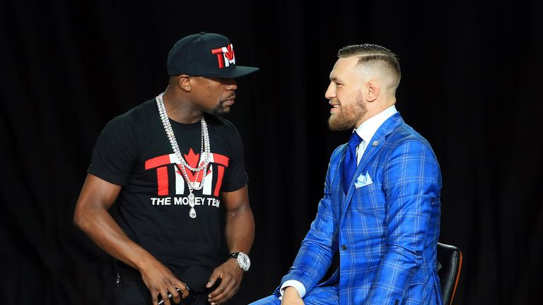 Floyd Mayweather Jr. taunts Conor McGregor in Toronto