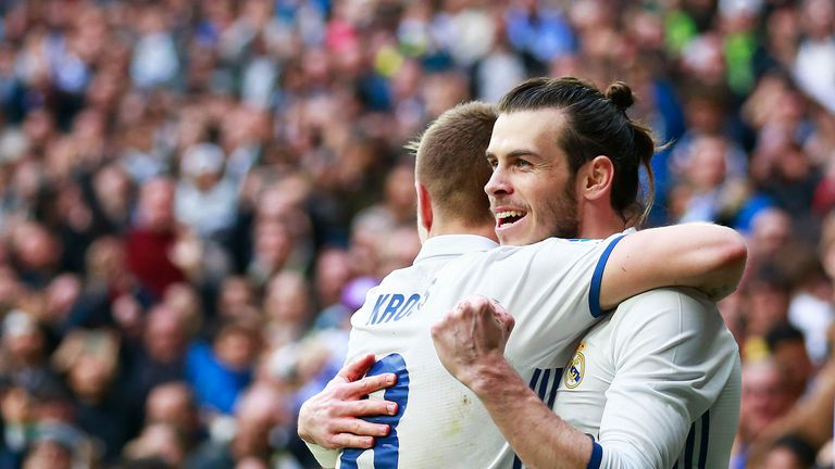 Gareth Bale celebrates scoring Real Madrid's second goal with team-mate Toni Kroos