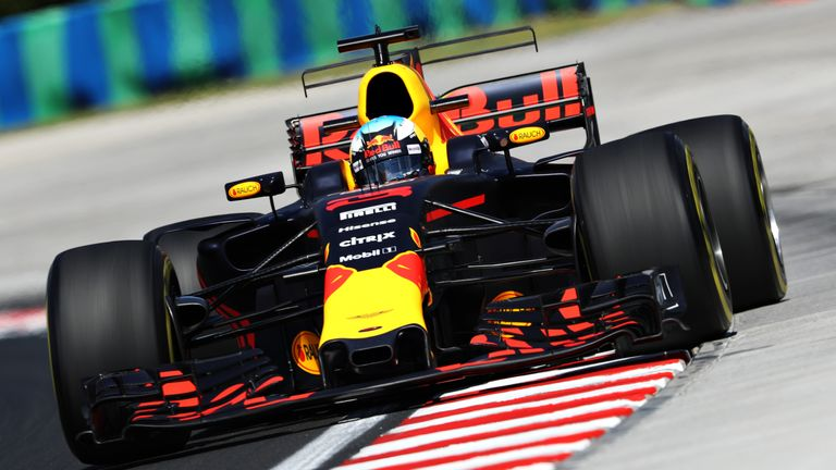 Daniel Ricciardo on track during practice for the Hungarian Grand Prix