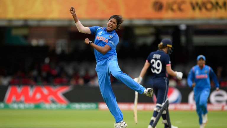 LONDON, ENGLAND - JULY 23:  India bowler Jhulan Goswami celebrates after dismissing Fran Wilson during the ICC Women's World Cup 2017 Final between England