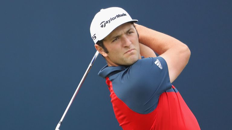 Jon Rahm of Spain hits his tee shot on the 1st hole during a practice round prior to the 146th Open
