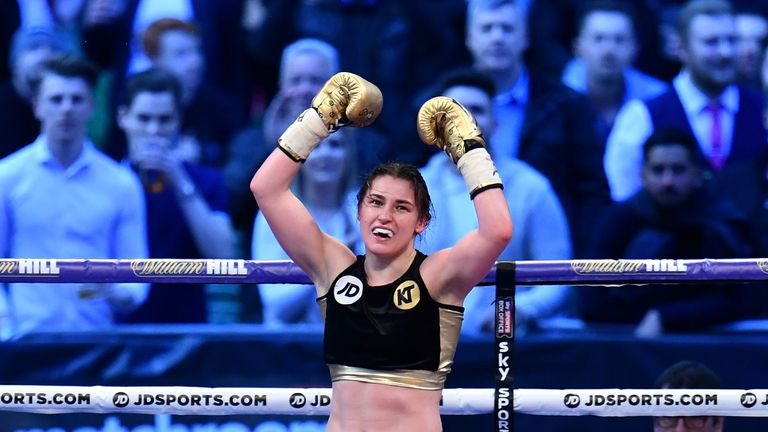 Katie Taylor celebrates victory over Nina Meinke in the WBA Lightweight Championship bout  at Wembley Stadium on April 29, 2017.