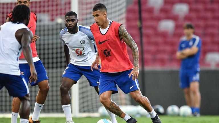 Kenedy runs with the ball during a Chelsea FC International Champions Cup training session at National Stadium