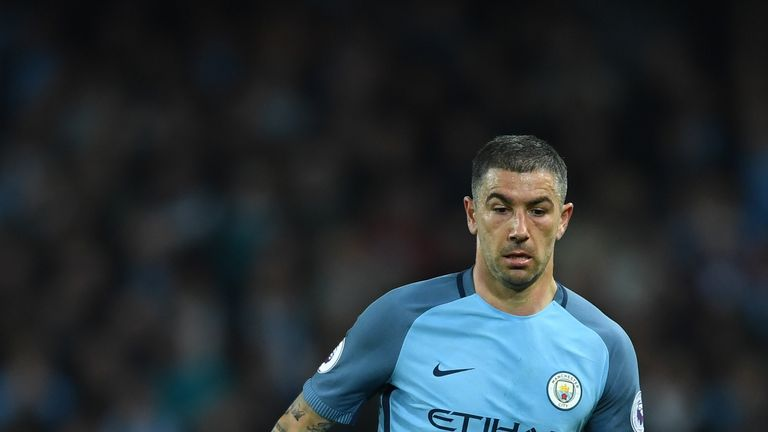 Aleksandar Kolarov of Manchester City in action during the Premier League match between Manchester City and Manchester United