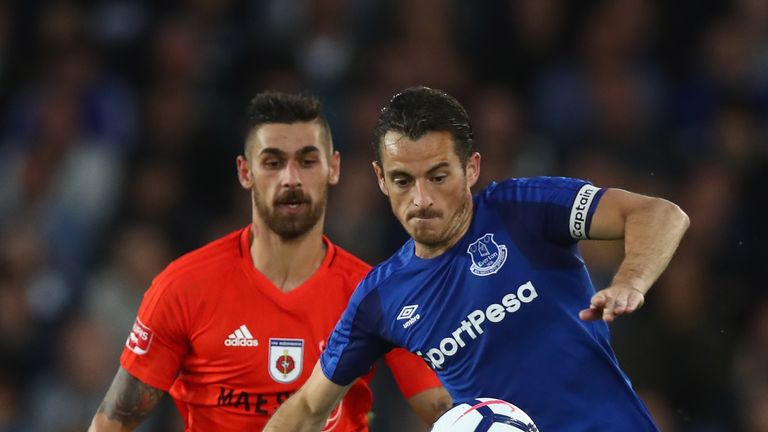 LIVERPOOL, ENGLAND - JULY 27: Leighton Baines of Everton in action with Erik Daniel of  MFK Ruzomberok during the UEFA Europa League Third Qualifying Round