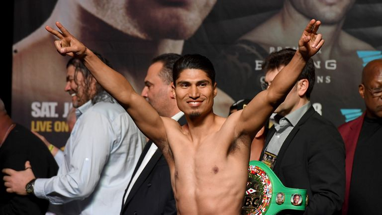 Mikey Garcia gestures to the crowd during his official weigh-in at MGM Grand Garden Arena on January 27, 2017 in Las Vegas.