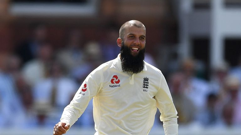 LONDON, ENGLAND - JULY 07:  Moeen Ali of England celebrates dismissing Hashim Amla of South Africa during day two of the 1st Investec Test between England