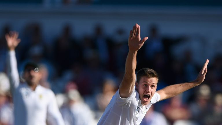 Morne Morkel appeals for the wicket of Alastair Cook