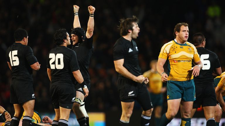 AUCKLAND, NEW ZEALAND - JULY 18:  Richie McCaw of the All Blacks celebrates at the final whistle during the 2009 Tri Nations match between the New Zealand