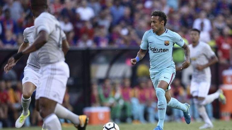 Neymar of Barcelona controls the ball during their International Champions Cup (ICC) football match against Manchester United on July 26, 2017 at the FedEx
