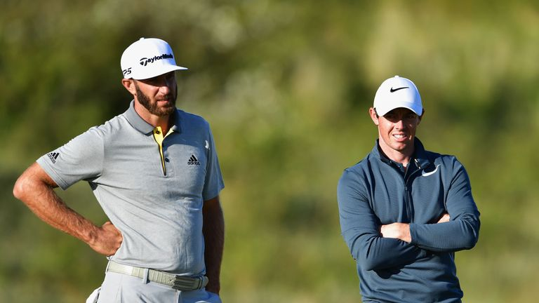 SOUTHPORT, ENGLAND - JULY 20:  Dustin Johnson of the United States and Rory McIlroy of Northern Ireland seen during the first round of the 146th Open Champ