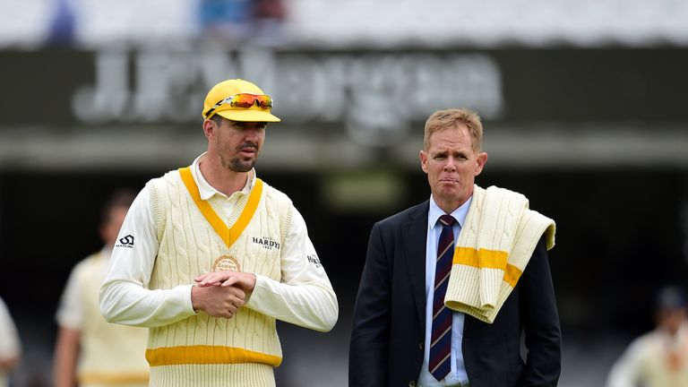 Rest of the World's Kevin Pietersen with Shaun Pollock