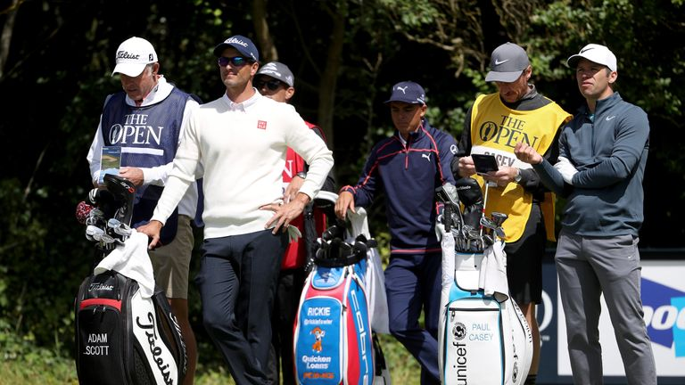 Adam Scott, Rickie Fowler and Paul Casey on the fifth tee at The Open