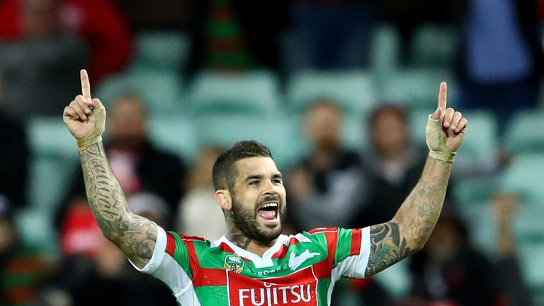 Adam Reynolds celebrates the Rabbitohs' win over the Dragons
