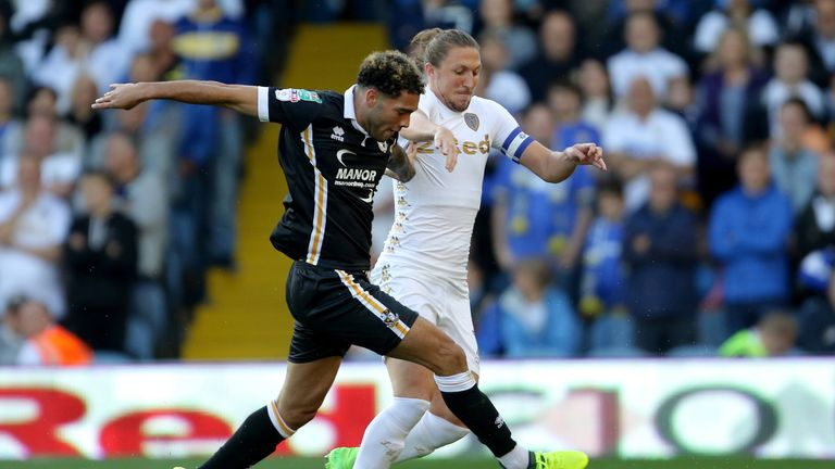 Port Vale's Anton Forrester and Leeds United's Luke Ayling battle for the ball