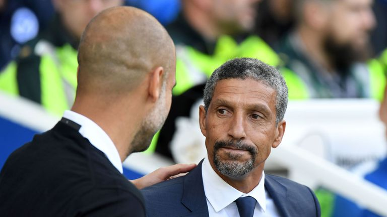 Chris Hughton took the positives from Brighton's 2-0 defeat to Man City