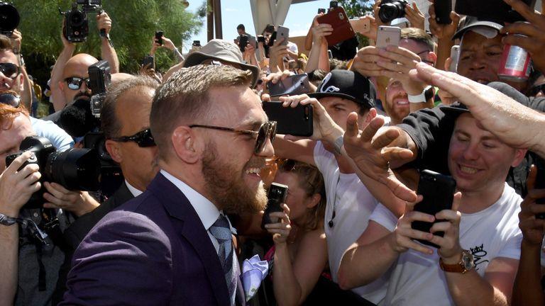 UFC lightweight champion Conor McGregor greets fans in Las Vegas