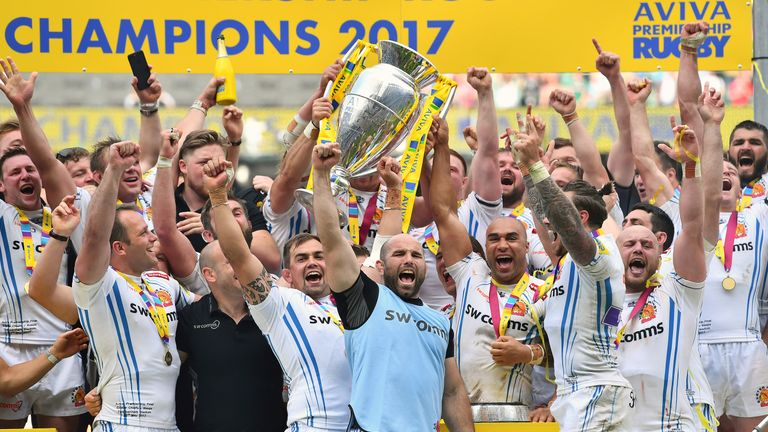 Exeter celebrate winning last season's Premiership crown