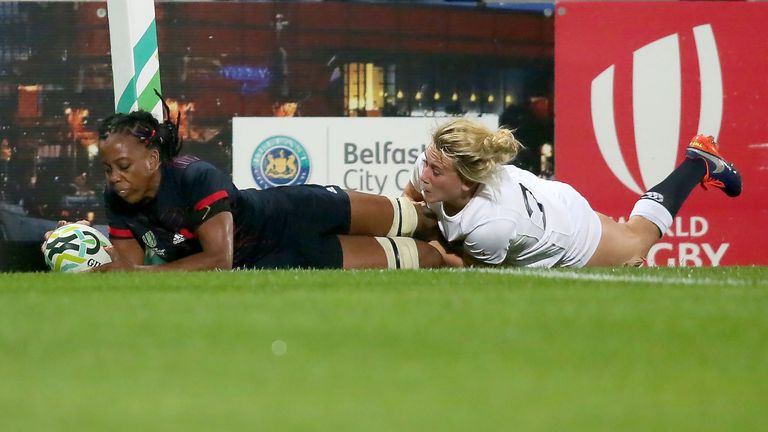 France's Julie Annery appeared to have scored for France with 12 minutes left but Meg Jones tackled her leg into touch