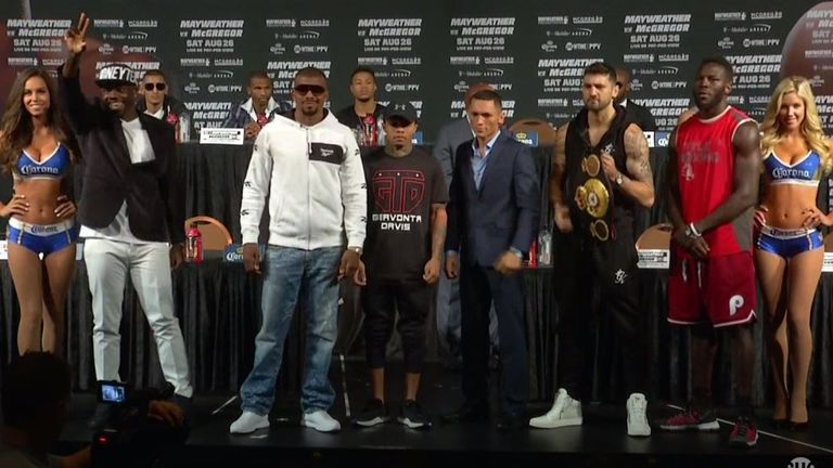 Gervonta Davis poses alongside the rest of the fighters that will appear on the televised undercard