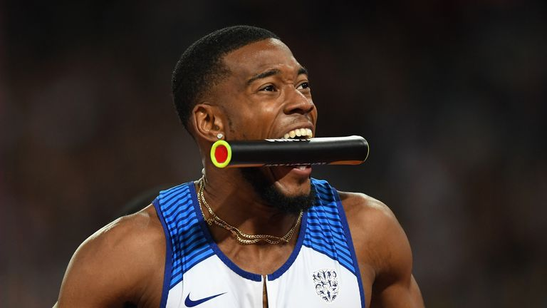 Nethaneel Mitchell-Blake celebrates after Great Britain claimed gold in the 4x100m relay