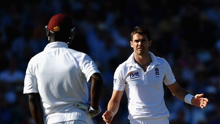 James Anderson and Samuels exchanged words during the second Test