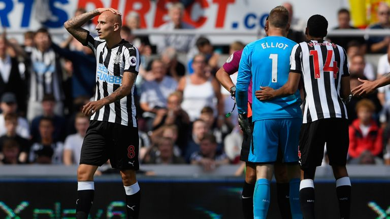 Shelvey was sent off for standing on Dele Alli's ankle