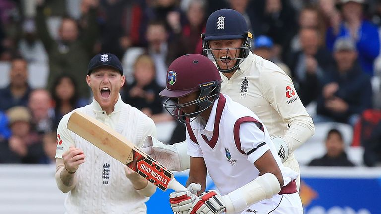 Ben Stokes (left) and Jonny Bairstow celebrate the wicket of Windies' Kraigg Brathwaite during this summer's Test series