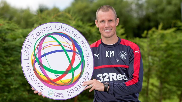 Rangers striker Kenny Miller poses following the announcement that a number of clubs in Scotland have signed up to the Scottish LGBT Sports Charter